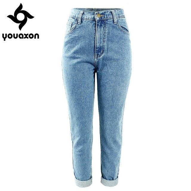 1886 Youaxon delle Donne Più Il Formato A Vita Alta Lavato Luce Blu Vero Pantaloni In Denim Fidanzato Jean Femme Per Le Donne I Jeans
