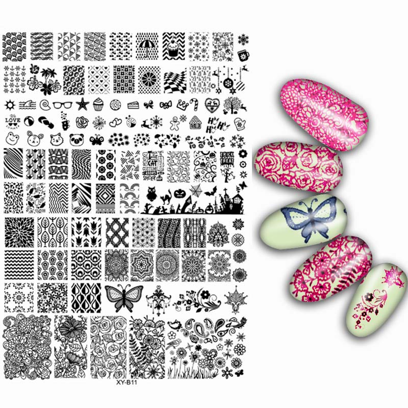 Big Transparent Acrylic Nails Stamping Plates Mixed Lace Flowers Design French Stamp Templates Image Polish Transfer Tools big size clear stamp block with grid transparent stamp holder acrylic pad diy scrapbooking decoration tools acrylic holder