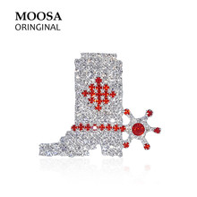 MOOSA Fashion American Style Broches Shoes Of Western Cowboy Brooches with Rhinestone for Women Girls Hijab Pins Jewelry