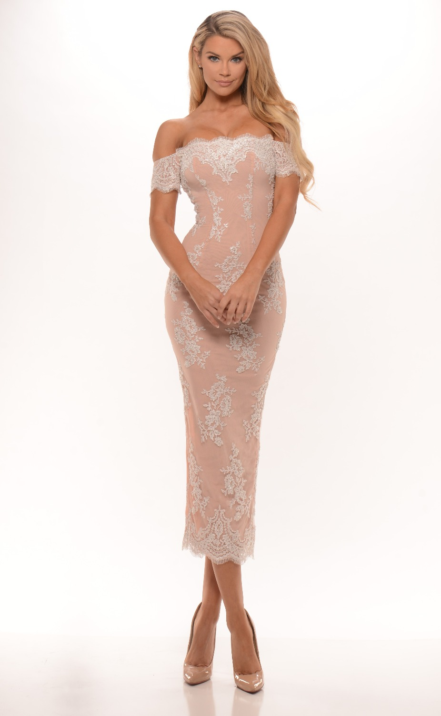 2016 Blushing Pink  Bridesmaid Dresses Tea Length Sheath Off  the Shoulder Beaded Lace Appliques Split  Wedding Party Dresses