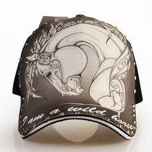 High Quality Original Oil Painting Baseball Caps Chinese Style Hip Hop Rivets 3D Paint Horse Pattern Cap for Men
