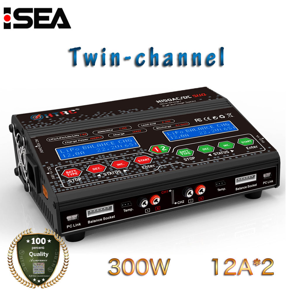 HTRC RC Lipo Balance Charger H150 AC/DC DUO 300W 12A*2 Twin-channel Output Discharger for Lilon LiPo LiFe LiHV Nimh Nicd Battery skyrc d100 charger twin channel ac dc lipo 1 6s 2x100w dual balance charger discharger lipo life li ion nimh pb battery