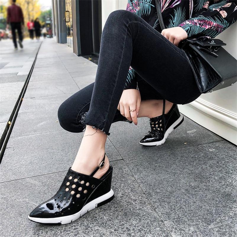 Partie Femme 1 Sexy Hauts Sandales Talons Strap outs Cut Mariage Femmes Chaussures Noir D'été Cheville Coins Fedonas En Pompes Cuir Mode Véritable De 56xUnqnB8H
