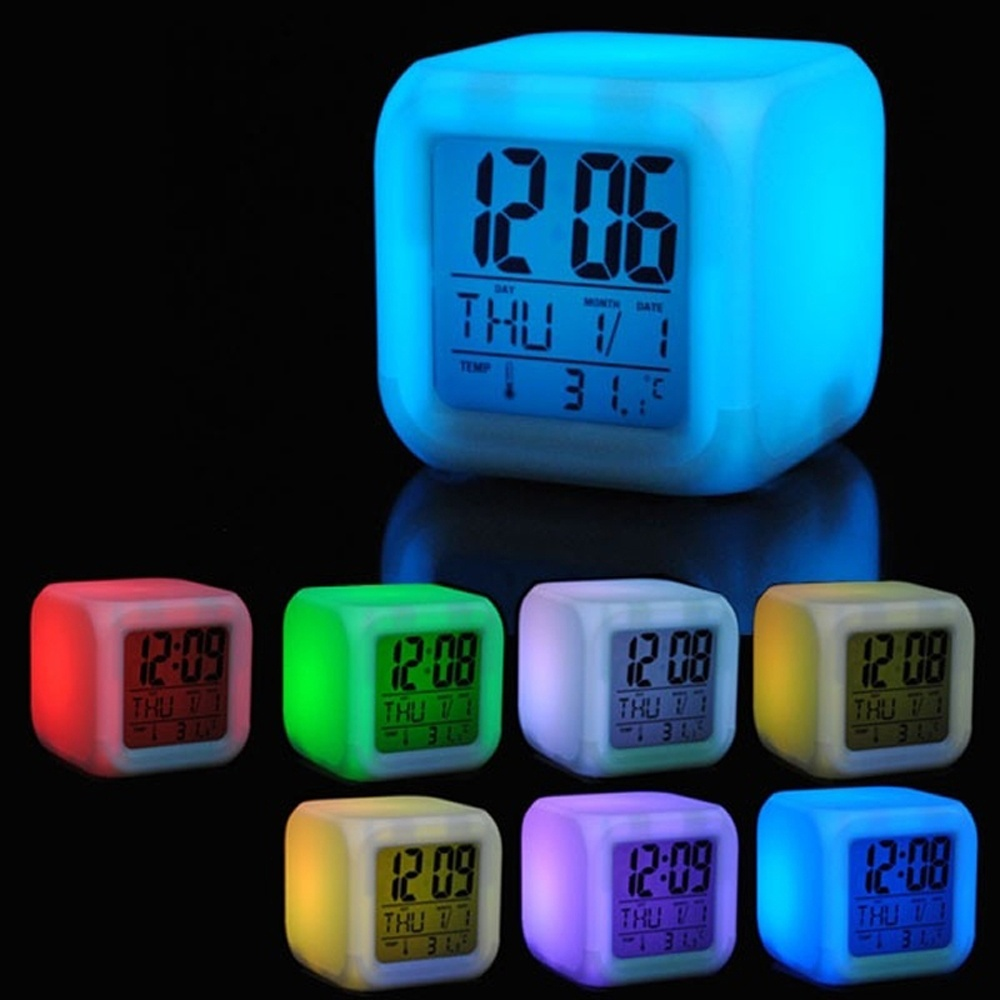 7 led colors changing digital alarm clock desk gadget. Black Bedroom Furniture Sets. Home Design Ideas