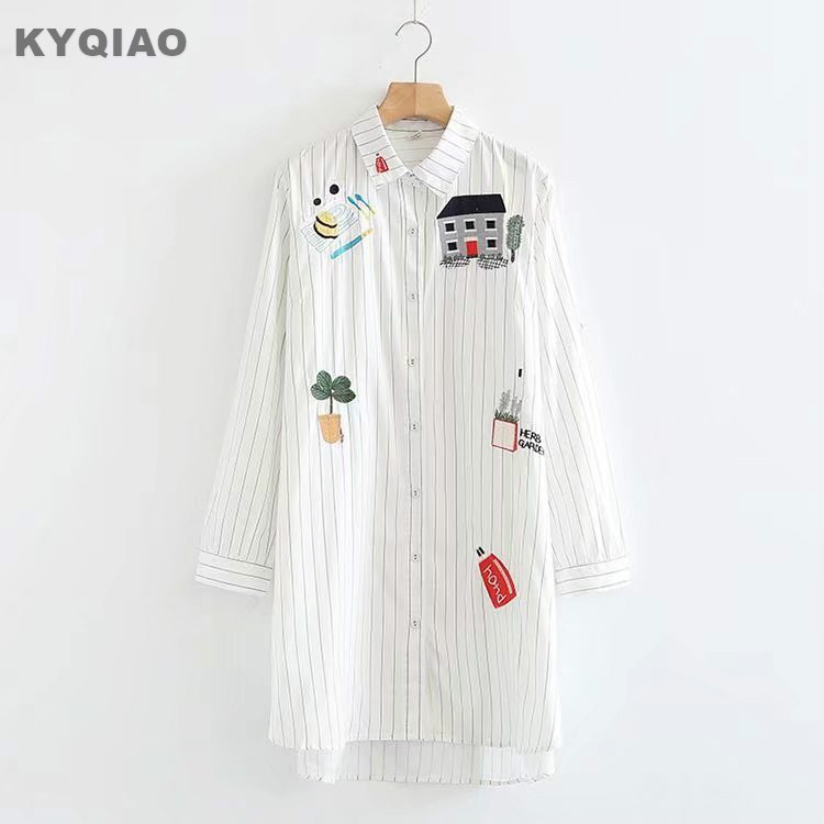 KYQIAO Cartoon shirt 2019 mori girls spring autumn Japan style three quarter sleeve striped cartoon house blouse blusa
