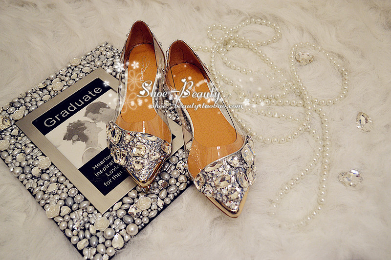 Luxury Spring Summer Beautiful Shoes Silver Flat Heel Shoes Crystal bridal  wedding shoes Lady Party Prom Shoes-in Women s Flats from Shoes on  Aliexpress.com ... 8e1fb083c17d