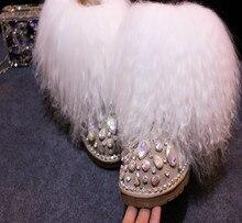 Zobairou Moda Lã De Luxo Inverno Quente Bota de Neve Forro de Pelúcia Botas De Pele Do Tornozelo Plana Mulheres Sapato Frisado Diamante Botas Femininas
