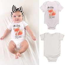Summer Newborn Baby Clothes Baby Boys cartoon fox Rompers 18-24 M Unisex Baby Rompers cute Cartoon Animal Clothing Set cheap popfavor COTTON Polyester Short O-Neck Fits true to size take your normal size Covered Button cotton and Polyester