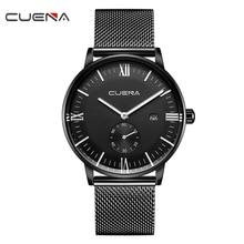 CUENA Quartz Wristwatches Watch Men Waterproof Stainless Steel Complete Calendar Luminous Hands Mens Watches Top Brand Luxury
