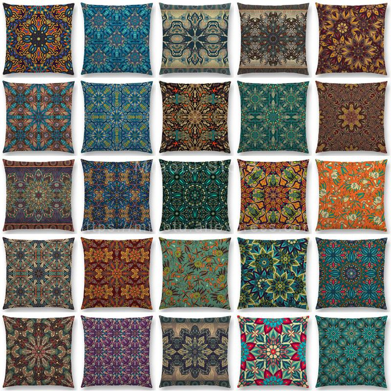 Boho Colorful Flowers Abstract Ethnic Floral Pillow Case Mandalas Pattern Design Vintage Patchwork Retro Cushion Cover