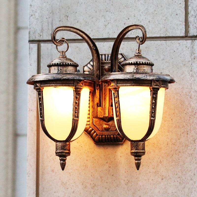 Lumières extérieures double mur européen Villa balcon porte extérieure rétro étanche lumières