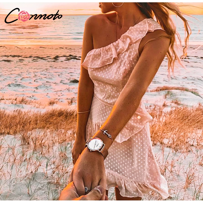 Conmoto Casual Polka Dot Short Party Dress Girls 19 Summer NEW One-Shoulder Sleeveless Ruffle Chiffon Dress Women Vestidos 3