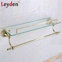 Leyden Luxury Solid Brass Shelves for Bathroom with Towel Bar Glass Shelf Wall Mount Shower Organizer Golden Bathroom Accessory
