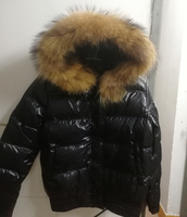 2018 Winter Down Jacket Fashion Raccoon Fur Hood Warm Jacket Coat Short Coat Long Sleeve Black Red Women Jacket