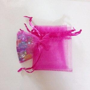 Image 5 - 1000pcs רוז אדום שקיות מתנת תכשיטי שקיות אריזת אורגנזה תיק שרוך תיק חתונה/אישה אחסון תצוגה שקיות