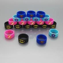 100pcs/lot  newest decorative ring silicon band vape ring with super man Batman Captain America  Wholesale ePacket Free Shipping