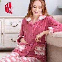 Warm Pyjamas Women Winter Flannel Pajamas Sets Soft Female Cartoon Pijamas Woman Long Sleevs Print Homewear