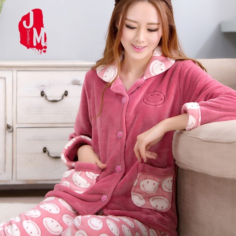 Warm Pyjamas Women Winter Flannel Women   Pajamas     Sets   Soft   Pajamas   Female Winter Cartoon Pijamas Woman Long Sleevs Print Homewear