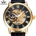 2017 top de luxo da marca sewor preto ouro skeleton mechanical assista men couro casual relógios de pulso relógio masculino relogio masculino