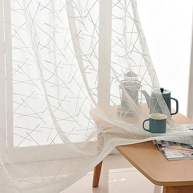 Modern Cross Lines Embroidered Tulle Curtains Living Room Decoration Translucent For Bedroom White