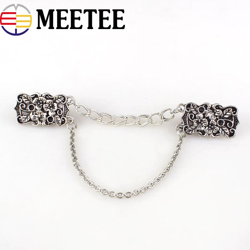 2Pcs Ancient Silver Retro Shirt Collar Clip Brooch Fashion Metal Pins Buckles Clothes Decoration Garment Clasp Hooks in Buckles Hooks from Home Garden