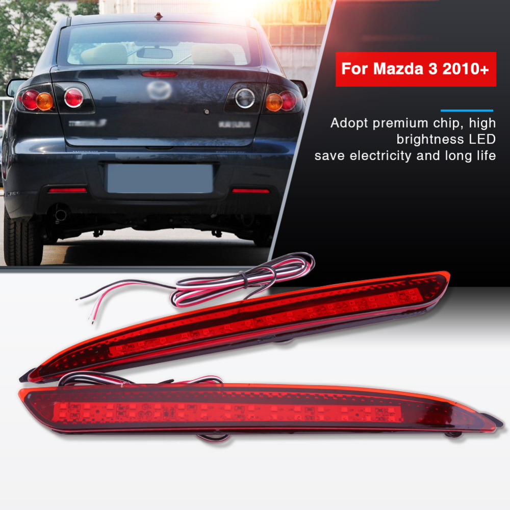Car Styling 2 Pcs Car Auto Tail Brake Light Red Lens LED Bumper Reflector Tail Brake Stop Light For Mazda 3 2010+ Accessories dali 16 2 3а