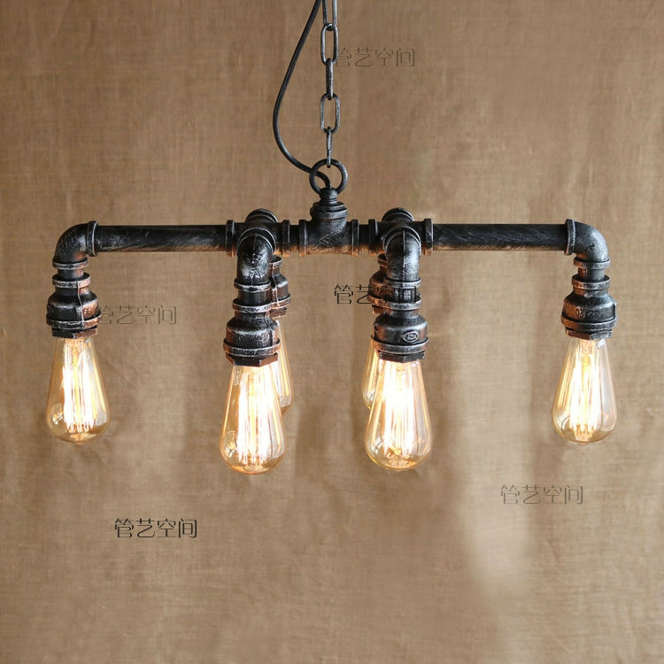 style rural industry wind retro nostalgia Loft Restaurant bedroom bar table water pipe iron personality Chandelier free shipping ac retro 4 head bulb holders chandelier iron water pipe industry creative personality light for clothing store
