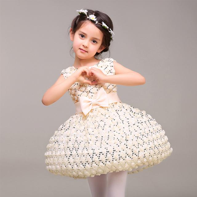 Lujo bebé niñas vestido del desfile de la navidad Del traje Del O-cuello sin mangas princesa vestido de bola del vestido de lentejuelas vestidos de niña