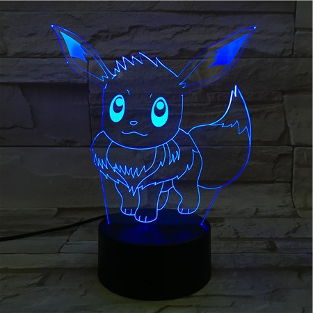 16CM Cartoon Pokemon Go Eevee 3D Lava Lamp Christmas 7 Color Changing LED Night Light Mood Decor Gift Bedroom Table Lamp beiaidi 7 color usb rechargeable rabbit led night light dimmable animal cartoon light with remote baby kids christmas gift lamp
