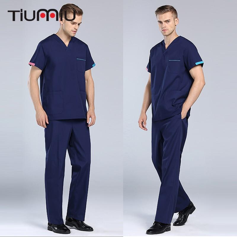 New V-Neck Summer Doctor Clothes Nurse Uniform Hospital Medical Beauty Salon Scrub Set Short Sleeve Men Surgical Medical Uniform