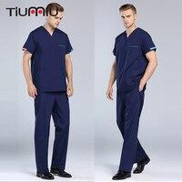 New V Neck Summer Doctor Clothes Nurse Uniform Hospital Medical Beauty Salon Scrub Set Short Sleeve Men Surgical Medical Uniform