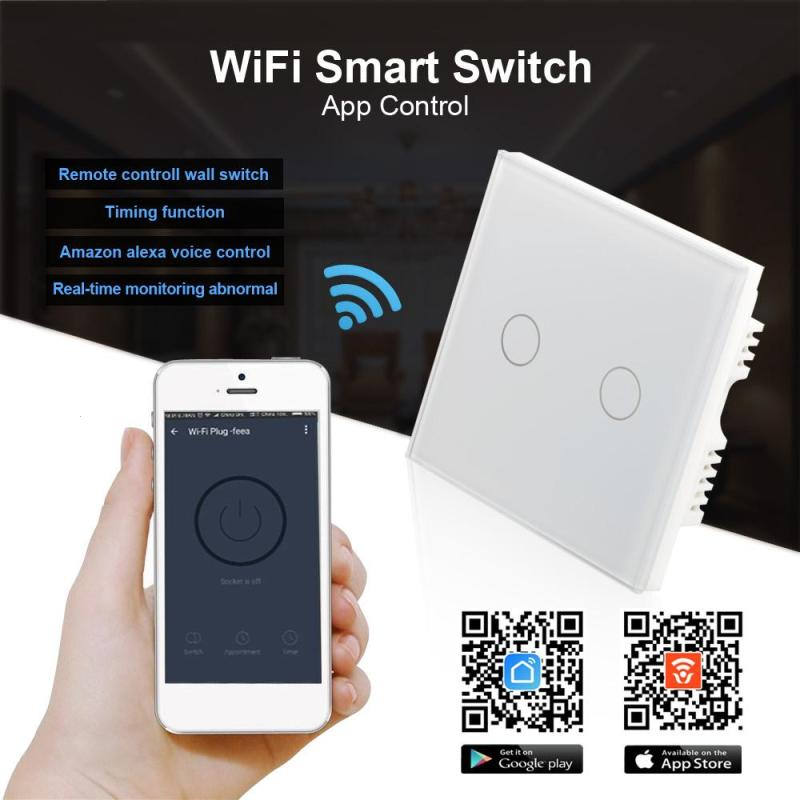 QIACHIP WiFi Smart Home UK Plug APP Wireless Remote Control Light Wall Touch Switch Work With Amazon Alexa Timing Function H4 smart home us black 1 gang touch switch screen wireless remote control wall light touch switch control with crystal glass panel