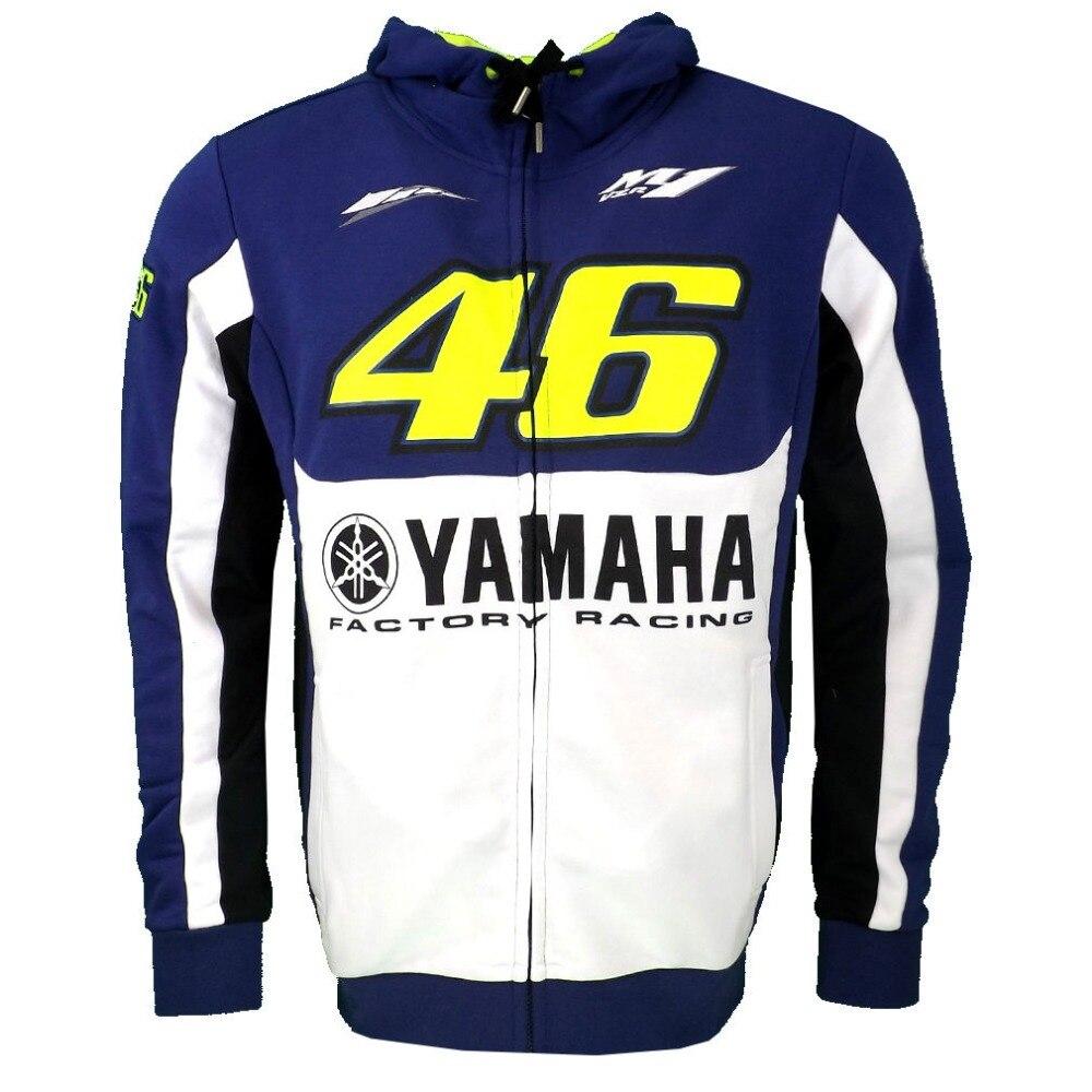 NEW 2016 VR46 Valentino Rossi Dual For Yamaha Cotton Fleece Zip Up Hoody Hoodie - Blue Men's Zip-up Hoody <font><b>racing</b></font> hoodie
