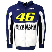 NEW 2016 VR46 Valentino Rossi Dual For Yamaha Cotton Fleece Zip Up Hoody Hoodie Blue Men