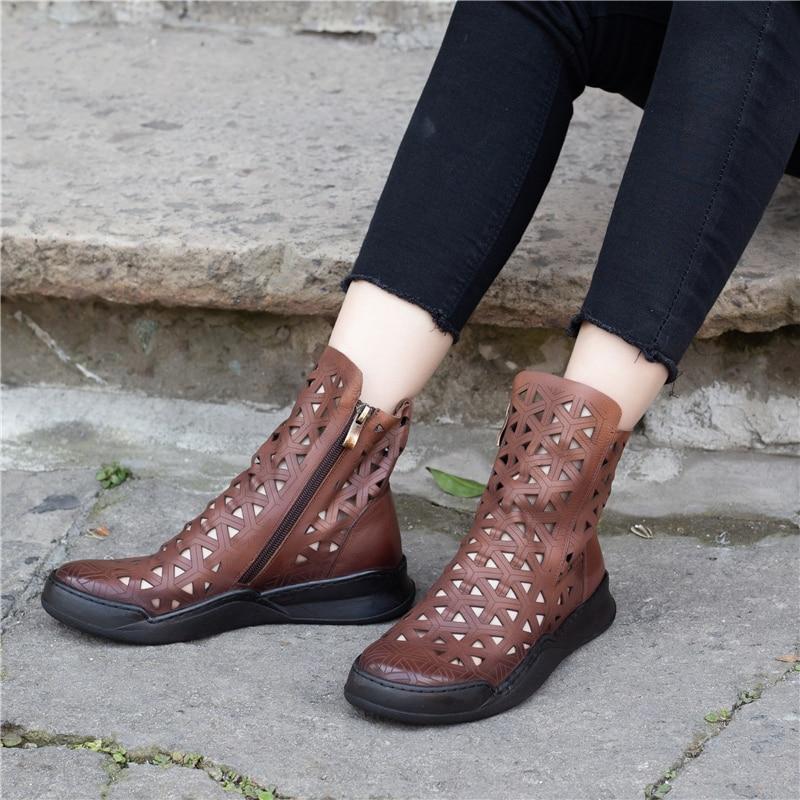 ac18288a5e245d Martin Talons Noir Sandale Cuir Bottes Évider brown Véritable En D'été Plat  À La Main Chaussures ...