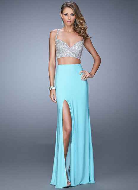 624d679f6 Vestido para prom largo correas espaguetis gasa aqua azul zafiro negro de dos  piezas de vestido