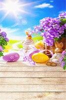 3x5ft بيض عيد الفصح الأرنب صورة خلفية بيربل زهرة مع الشمس السماء الزرقاء الخشب الطابق سلس مطبوعة التصوير الخلفيات