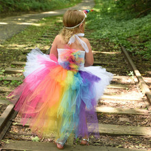 Children Unicorn Tutu Dress  Girls Dress Kids Christmas Easter Party Dresses Little Horse Baby White Dress With Rainbow Back children girl rainbow tutu dress princess little horse tutu dresses little girls dress up fancy tutus baby clothing christmas