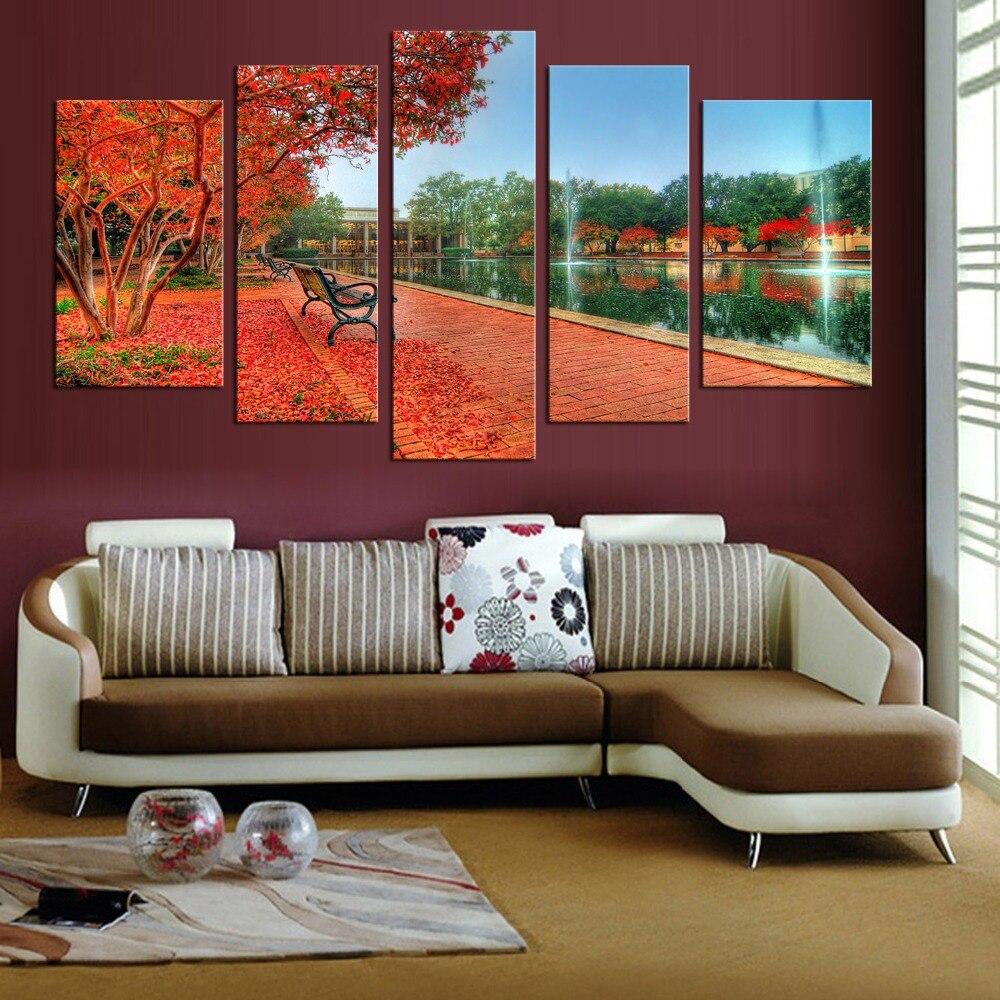 5 Pe A Outono Vermelho Folha De Bordo Rvore Moderna Pintura De  -> Parede Galeria Sala