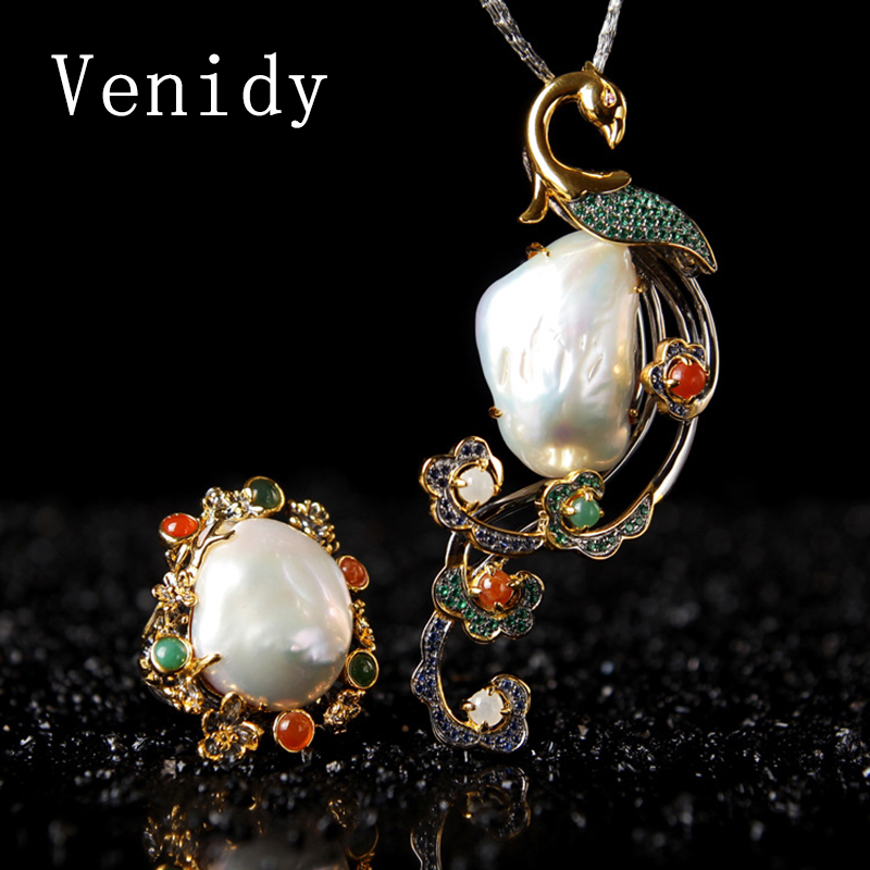 Venidy Baroque Vintage Pearls Ring/Necklace Jewelry Sets for Women Bridal Classic High Quality Tourmaline Jade Pearl Necklace vintage artificial jade embossed ring for women