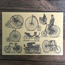 Envío Gratis bicicleta Vintage gráfico de pintura papel Kraft Poster Retro Pared de salón arte adhesivo para manualidades decoración 42x30cm ZNP-B024