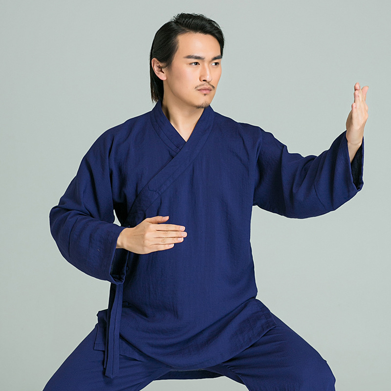 Chinese Wudang Taoist Kung Fu Clothes Men Tai Chi Uniform Shaolin Buddhist Monk Robes Martial Arts Kungfu Clothing Tops+pants