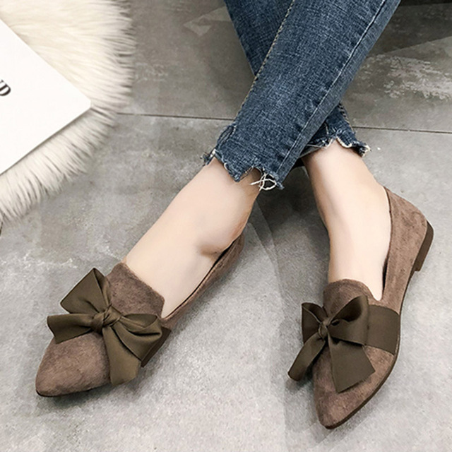 2019 Spring Women Flats Big Bow Slip on Flat Shoes Pointed Toe Boat Shoes  Woman Loafers Ladies Shoes Zapatos Mujer N7000 231b8e0316be