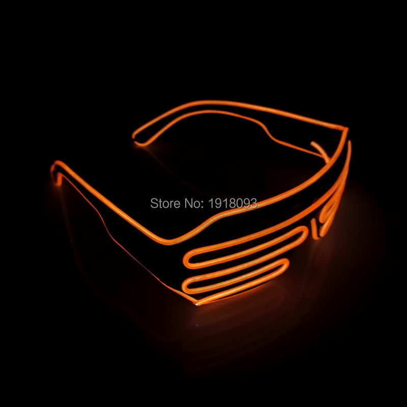 DC-3V Steady on EL Wire Glasses Color Orange Flashing Neon LED Light Up Shutter Shape Glasses For Party Decoration