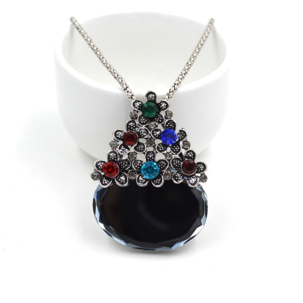 2 Colors Best Gifts For Christmas Water Drop Large Gem Christmas Tree Flowers Vintage Sweater Necklace N2634