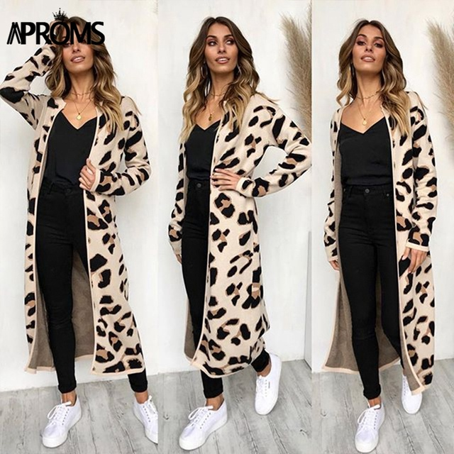 Aproms Leopard Print Knitted Sweater 1