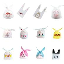 Cute Bunny Pattern Gift Holders with Rabbit Ears Thanksgiving Easter Candy Cookies OPP Bag
