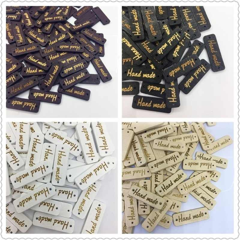 "50Pcs Wooden Button ""Hand Made"" tags Wood Sewing Accessories DIY Apparel Sewing For Clothes Handmade Scrapbooking Craft DIY"