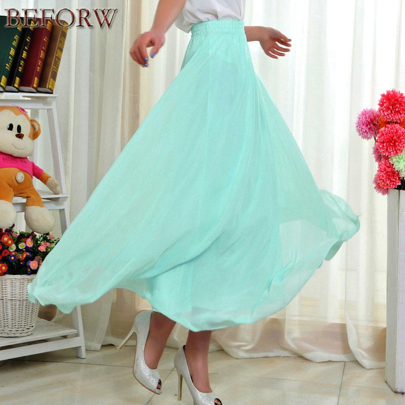 2017 New Women Long Skirt Summer Casual Fashion High Waist Chiffon Pleated Skirts Beach Sexy Tulle Black Maxi Skirt Boho