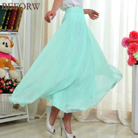 2017 New Women Long Skirt Summer Casual Fashion High Waist Chiffon Pleated Skirts Beach Sexy Tulle